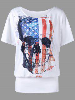 Plus Size American Flag Skull Print T-shirt - White 2xl