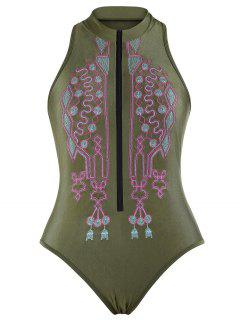 Zipper Fly Embroidered Plus Size Swimsuit - Blackish Green 2xl