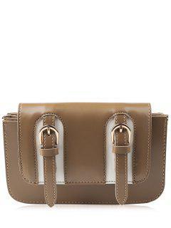 Twin Buckles Mini Cross Body Bag - Brown