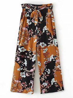 Floral Palazzo Pants With Pockets - Deep Yellow S