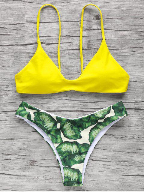 latest Spaghetti Straps Palm Tree Bikini - YELLOW S Mobile
