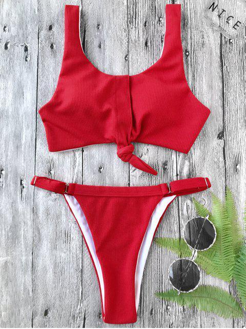ladies Adjustable Textured Knotted Bralette Bikini Set - RED S Mobile