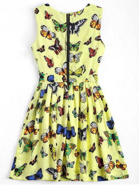 Back Zipper Butterfly Graphic Mini Dress - Jaune S Mobile