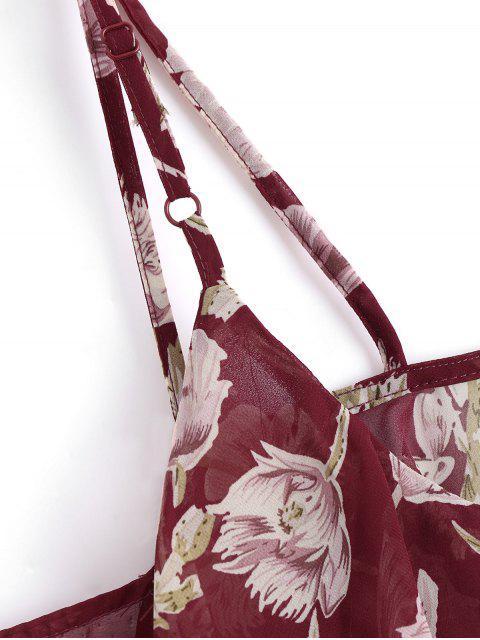 Robe Longue Florale à Volant Épaules Nues - Floral S Mobile