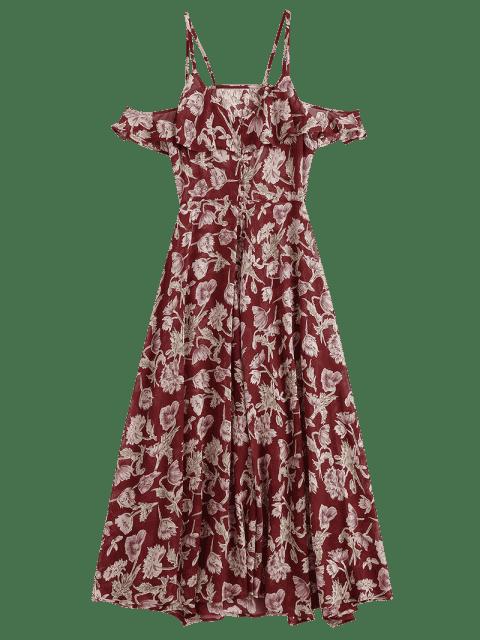 sale Floral Ruffles Cold Shoulder Maxi Dress - FLORAL S Mobile
