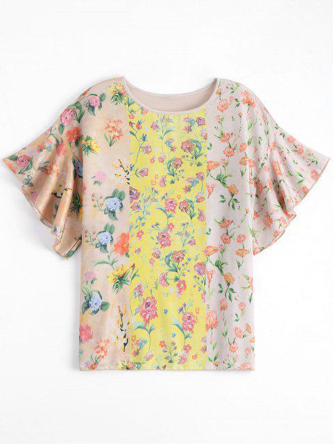 women Loose Floral Flounces Top - FLORAL S Mobile