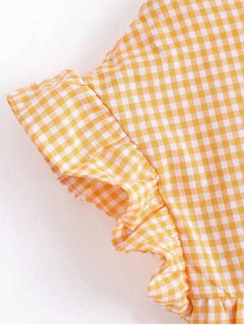 new Checked Ruffles Shift Mini Dress - CHECKED S Mobile