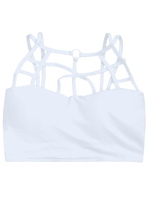 latest Criss Cross Strappy Crop Top - WHITE ONE SIZE Mobile