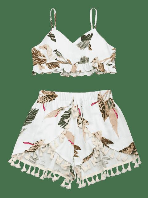 Ruffles recourbées Tops tropicaux et Tassels Shorts en couches - Blanc S Mobile
