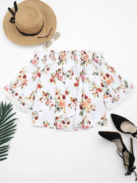 Schulterfreie Bluse mit Blumendruck und Spitzendetail - Weiß S Mobile