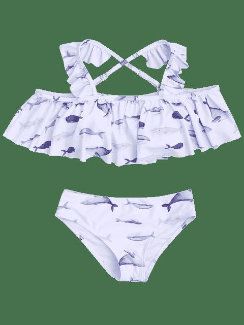online Dolphin Print Flounce Kids Bikini Set - WHITE 4T Mobile