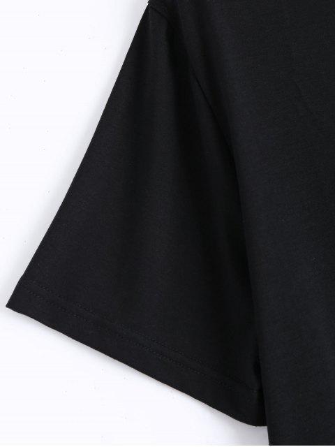 T-shirt Criss Cross en coton rasé - Noir 2XL Mobile
