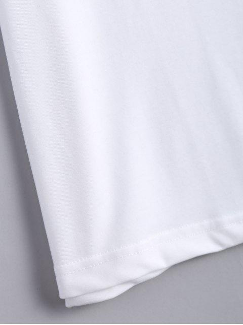 latest Cotton Ripped Criss Cross T-Shirt - WHITE 2XL Mobile