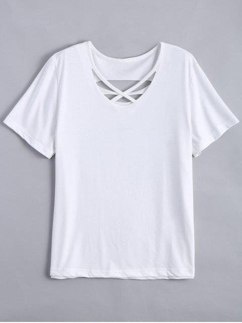 trendy Cotton Ripped Criss Cross T-Shirt - WHITE XL Mobile