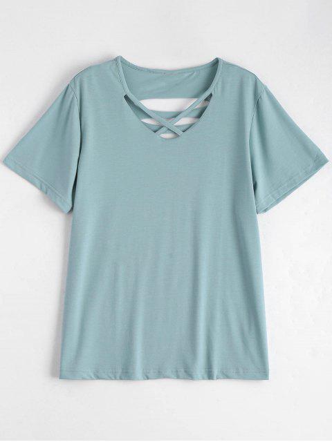 fancy Cotton Ripped Criss Cross T-Shirt - LIGHT GREEN 2XL Mobile
