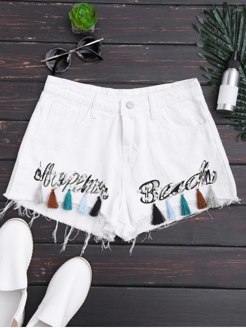 latest Cutoffs Tassels Beaded Embroidered Denim Shorts - WHITE M Mobile