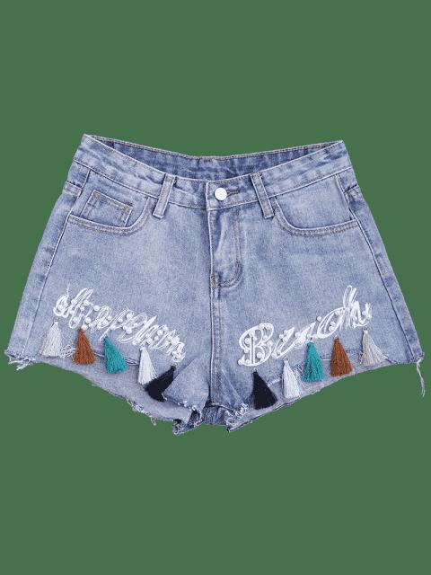Cuprifles Tassels Beaded Shorts denim brodé - Denim Bleu XL Mobile