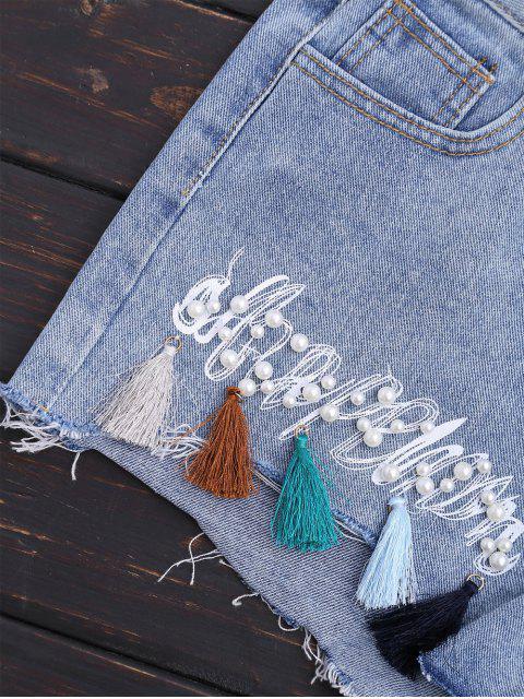 Cuprifles Tassels Beaded Shorts denim brodé - Denim Bleu L Mobile