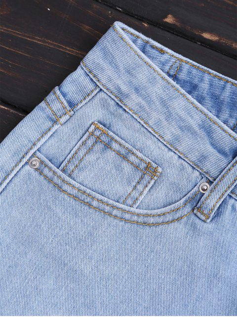 Shorts Denim Scalloped Brodés - Denim Bleu L Mobile