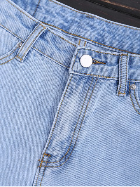 Shorts Denim Scalloped Brodés - Denim Bleu S Mobile