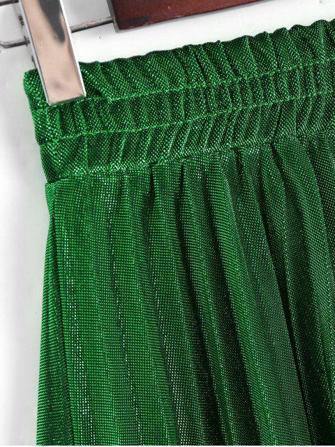 Jupe plissée à cristaux liquides brillant en métal - Vert Foncé M Mobile