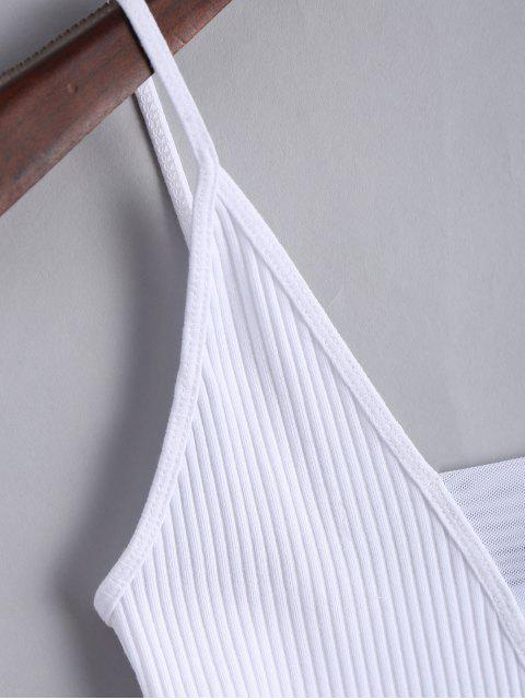 online Knitted Voile Panel Ribbed Tank Top - WHITE S Mobile