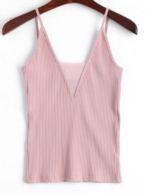 Tejido de Voile panel Ribbed Tank Top - Rosado M Mobile