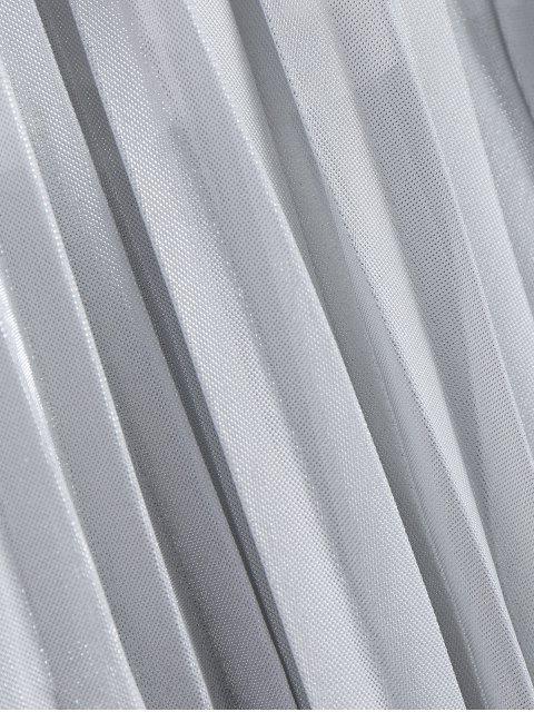 Jupe plissée à cristaux liquides brillant en métal - Gris Argent M Mobile