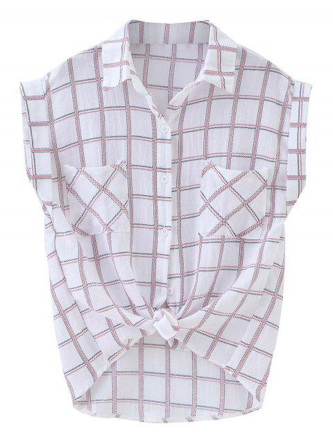 unique Knotted Pockets Curled Sleeve Grid Shirt - PLAID ONE SIZE Mobile