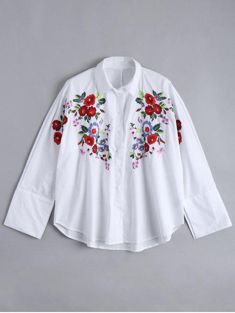 Weite hohe niedrige Bluse mit Blumenstickereien - Weiß L Mobile