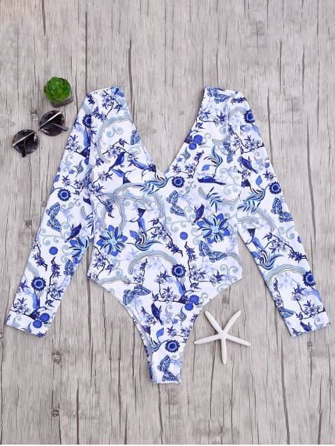 shops Padded Printed Rashguard One Piece Swimsuit - BLUE AND WHITE L Mobile