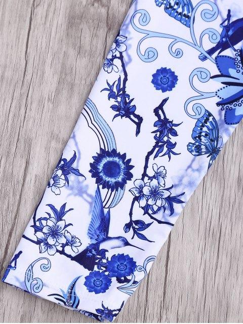 Maillot de Bain 1 Pièce Rembourré Imprimé à Manches Longues - Bleu et Blanc S Mobile