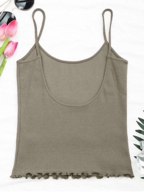 new Cut Out Back Ribbed Tank Top - KHAKI ONE SIZE Mobile