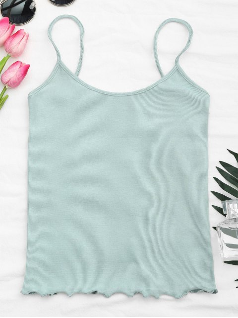 hot Cut Out Back Ribbed Tank Top - LIGHT BLUE ONE SIZE Mobile