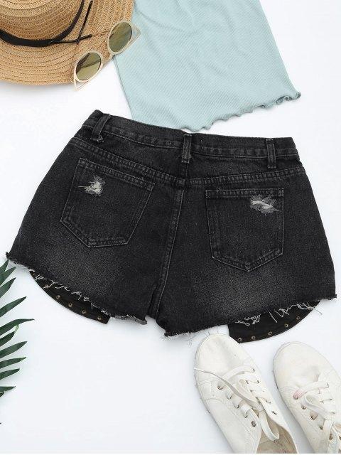 Ripped Cutoffs PU Panel Denim Shorts - Noir XL Mobile