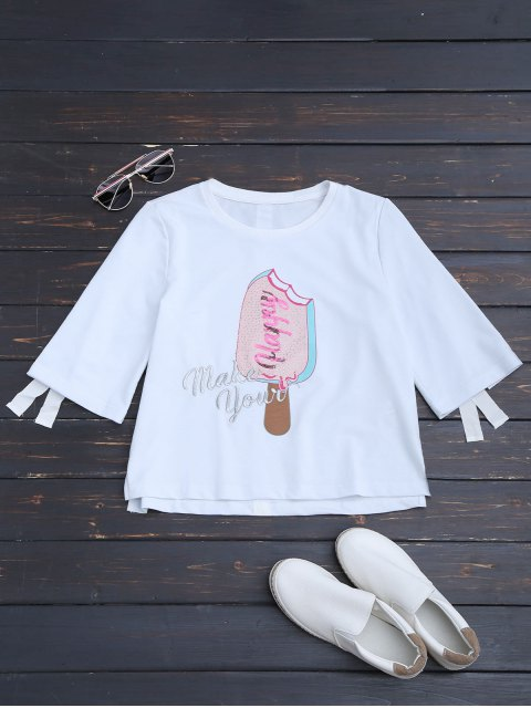 latest Cute Embroidered Graphic Top - WHITE L Mobile