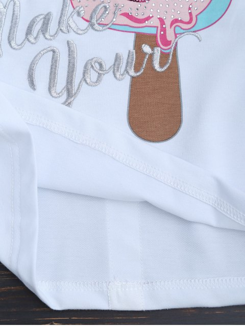 fancy Cute Embroidered Graphic Top - WHITE S Mobile