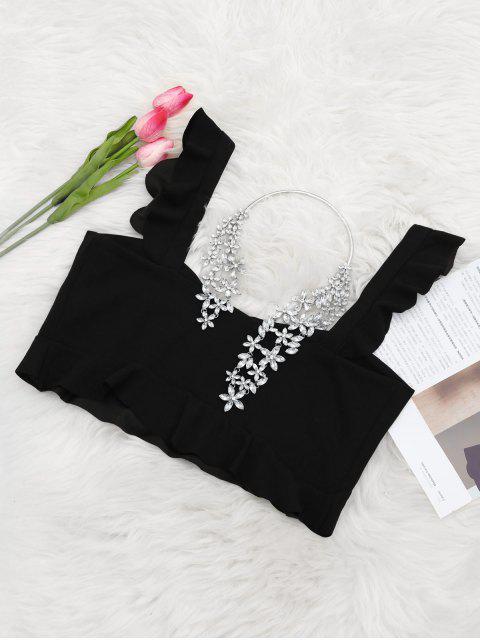 women's Ruffle Hem Sleeveless Crop Top - BLACK S Mobile