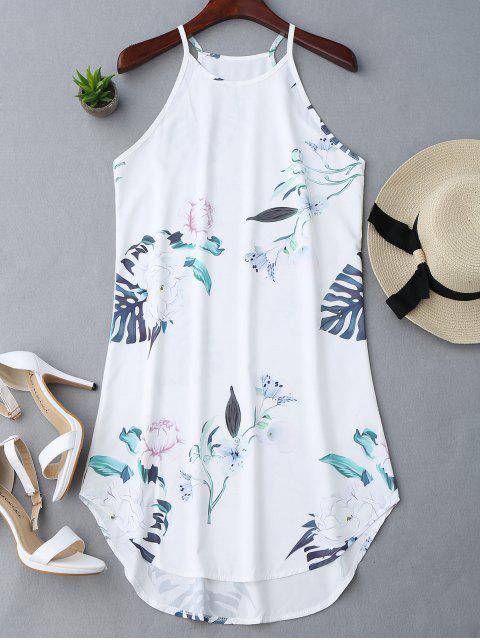 fashion Floral Printed Cami Dress - WHITE L Mobile
