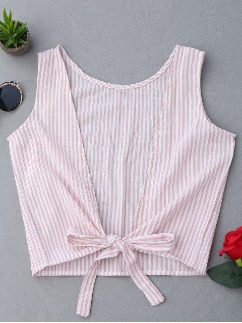 affordable Plunging Neck Striped Tank Top - PINK M Mobile