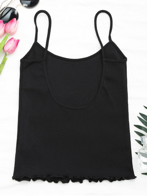 women Cut Out Back Ribbed Tank Top - BLACK ONE SIZE Mobile