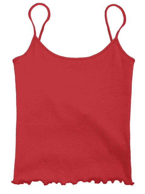 ladies Cut Out Back Ribbed Tank Top - RED ONE SIZE Mobile