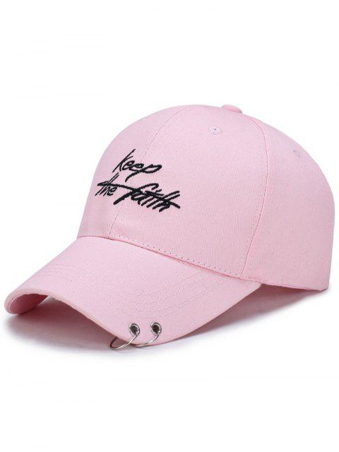online Double Metal Circle Letters Embellished Baseball Hat - PINK  Mobile