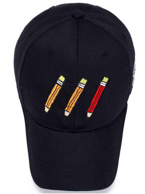 outfits Cartoon Pencil Letters Embroidery Baseball Hat - BLACK  Mobile
