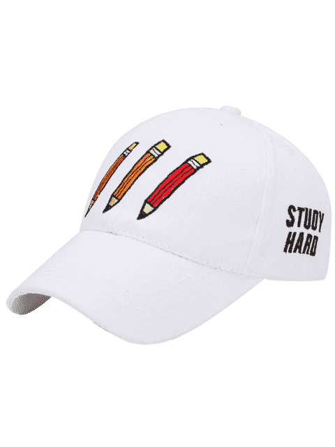 Cartoon Pencil Letters Broderie Baseball Hat - Blanc  Mobile