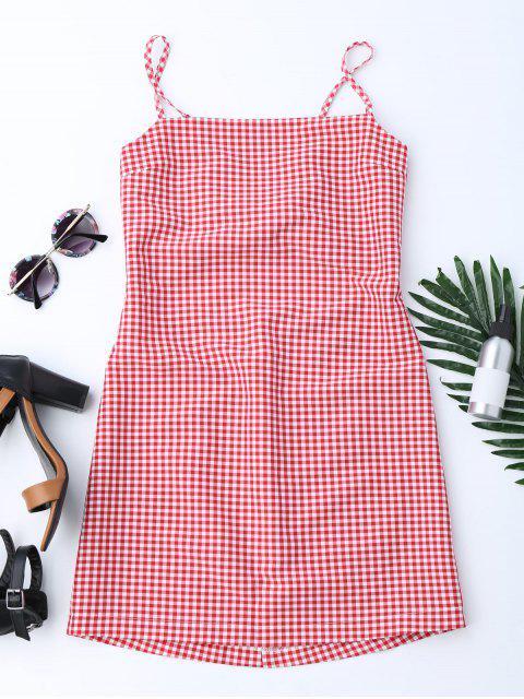 Mini robe découpée au bowknot - Rouge S Mobile