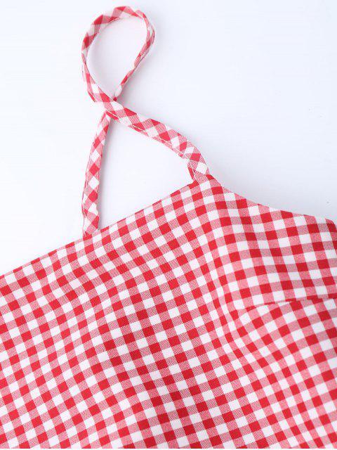 Robe miniature découpée au bowknot vérifiée - Rouge S Mobile