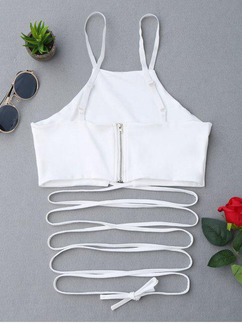 Zippered Criss Cross Crop Cami Top - Blanc S Mobile