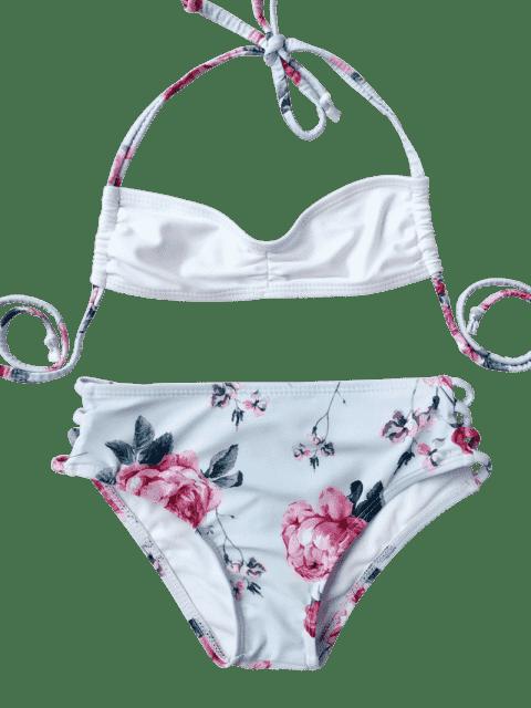 best Banded Floral Ruched Kid Bikini - LIGHT BLUE 5T Mobile