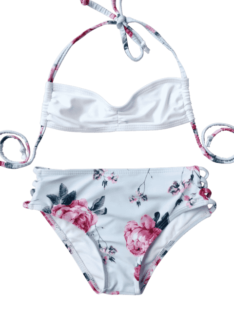 new Banded Floral Ruched Kid Bikini - LIGHT BLUE 7T Mobile